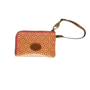 Fossil orange and pink wristlet with brown leather